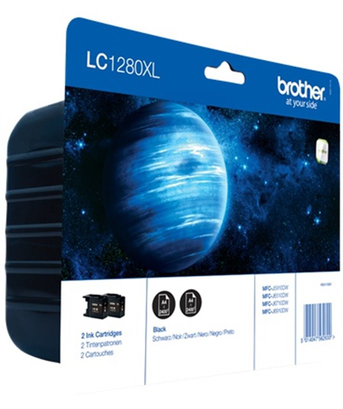Brother LC-1280 inktcartridge zwart extra high capacity 2x 2.400 pagina's 1-pack Blister