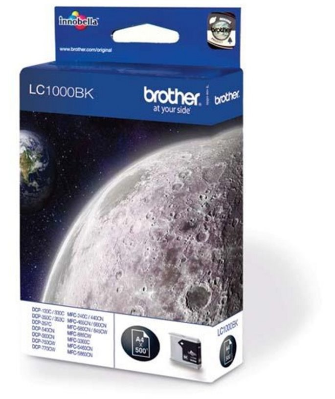Brother LC-1000 inktcartridge zwart standard capacity 500 pagina's 1-pack blister