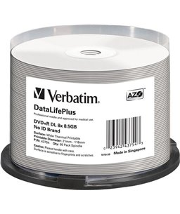Verbatim DVD+R DOUBLE LAYER 8.5GB 8X WIDE THERMAL PRINTABLE Spindle 50pk