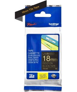 Brother P-Touch TZ-344 gold on black 18mm
