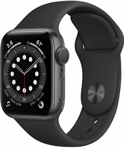 Apple Watch Series 6 40mm spacegrijs aluminium / zwarte sportband