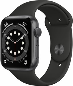 Apple Watch Series 6 44mm spacegrijs aluminium / zwarte sportband
