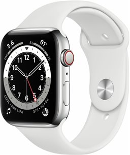 Apple Watch Series 6 44mm zilver aluminium / witte sportband